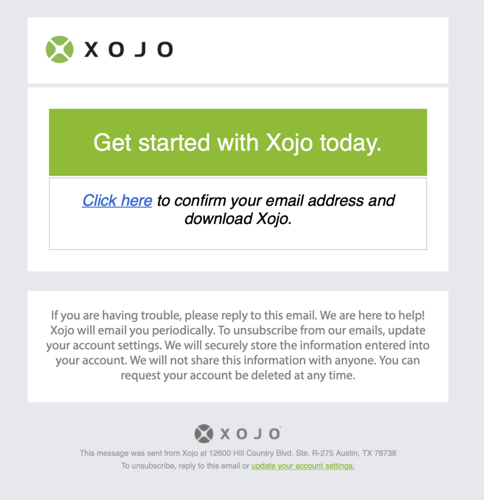 Xojo新規登録メール